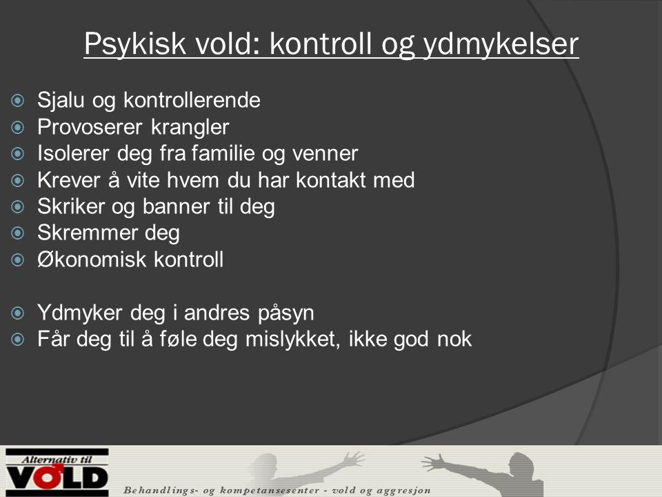 Undersøkelse ved krisesenteret i Gøteborg (Almquist og Broberg 2004)  77% av barna befant seg i samme rom som foreldrene når mishandlingen av mor fant sted  45% hadde under mishandlingen vært i fysisk kontakt med en eller begge av foreldrene  62% av barna hadde selv vært utsatt for flere former for mishandling fra far  NOU 2003.31 anslår at mellom 12-24000 barn ÅRLIG opplever at mor utsettes for fysisk vold