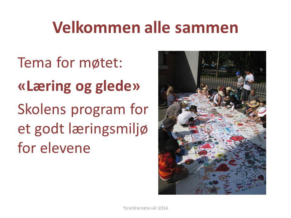 Velkommen alle sammen Tema for møtet: «Læring og glede» Skolens program for et godt læringsmiljø for elevene foreldremøte vår 2014