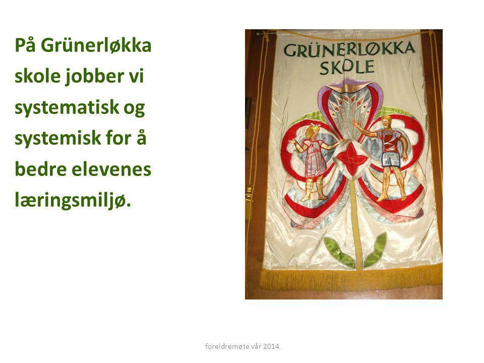 På Grünerløkka skole jobber vi systematisk og systemisk for å bedre elevenes læringsmiljø. foreldremøte vår 2014