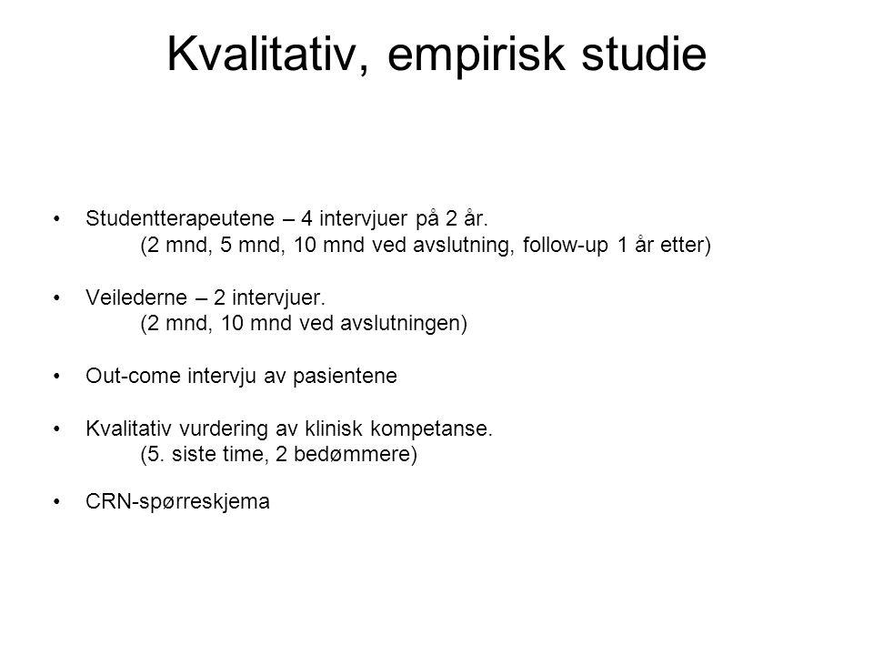 Kvalitativ, empirisk studie •Studentterapeutene – 4 intervjuer på 2 år. (2 mnd, 5 mnd, 10 mnd ved avslutning, follow-up 1 år etter) •Veilederne – 2 in