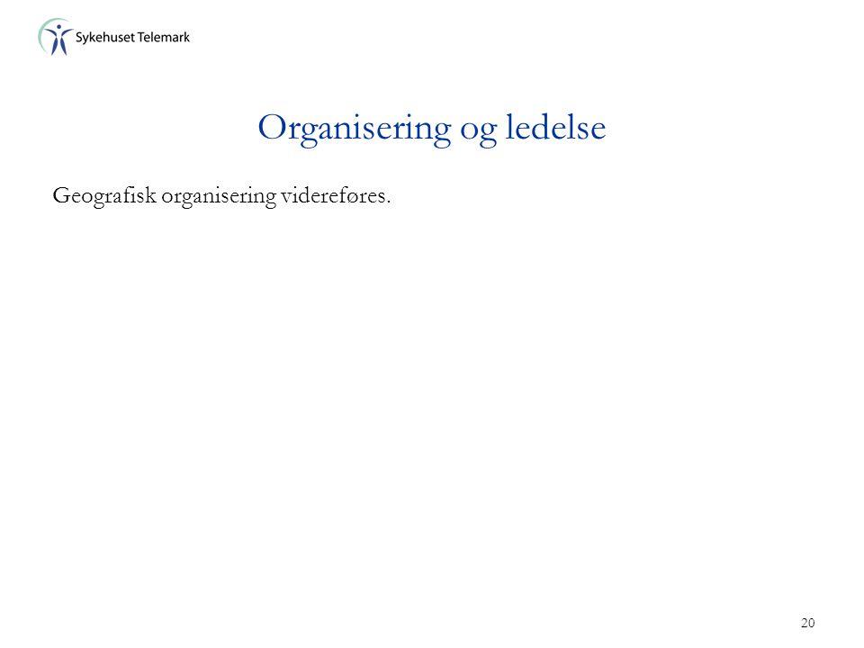 20 Organisering og ledelse Geografisk organisering videreføres.