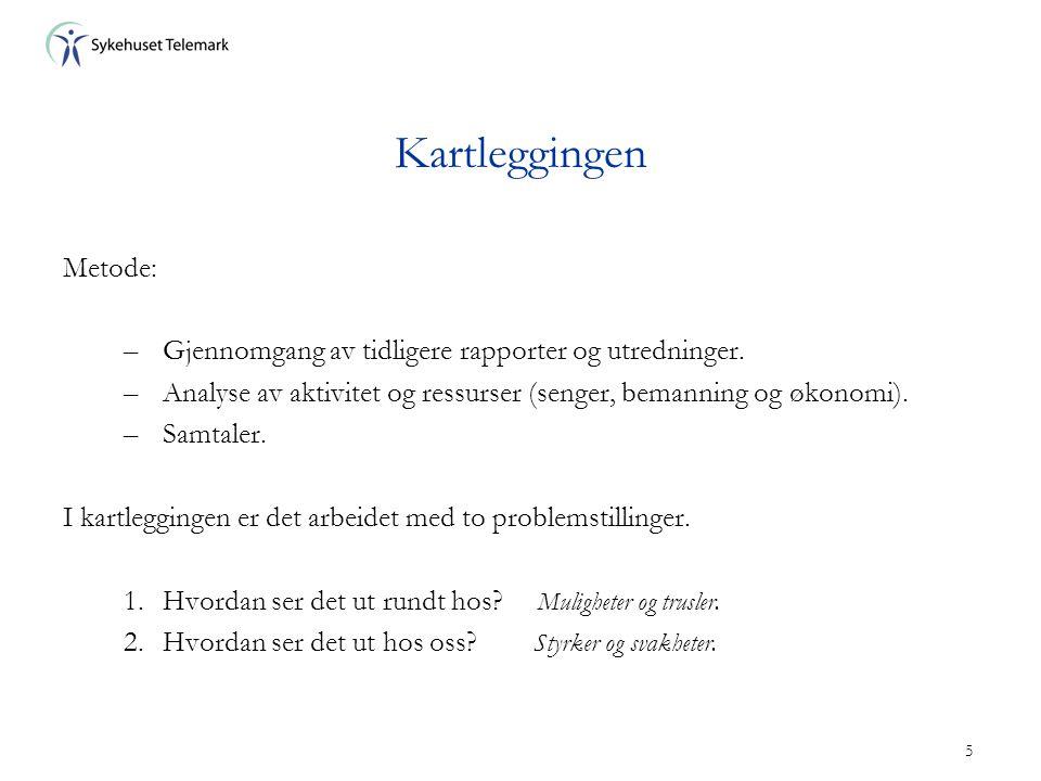 5 Kartleggingen Metode: –Gjennomgang av tidligere rapporter og utredninger. –Analyse av aktivitet og ressurser (senger, bemanning og økonomi). –Samtal