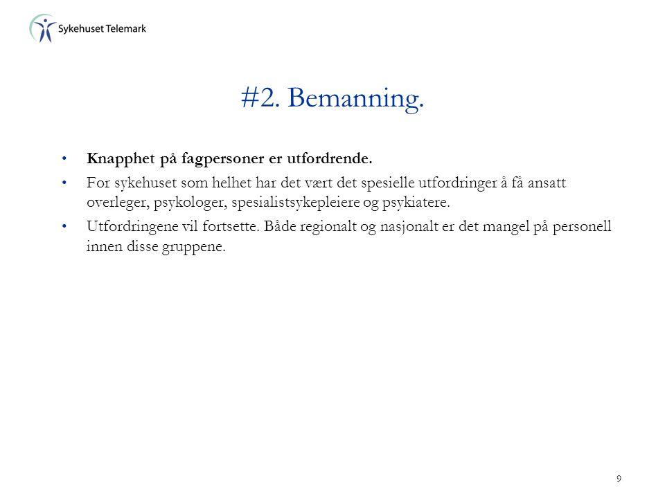 9 #2. Bemanning. • Knapphet på fagpersoner er utfordrende. • For sykehuset som helhet har det vært det spesielle utfordringer å få ansatt overleger, p