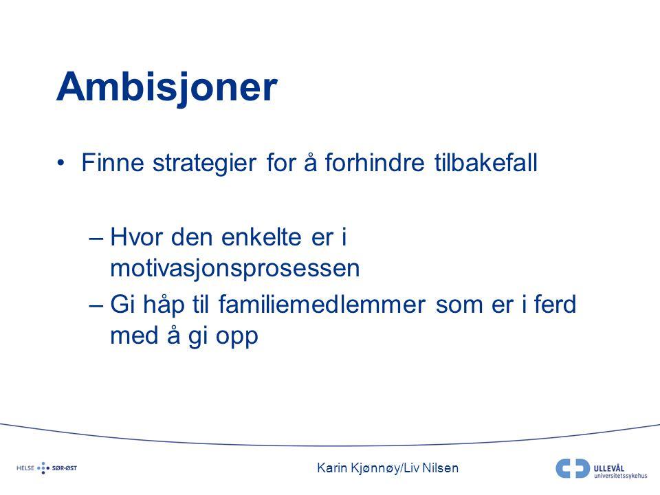 Karin Kjønnøy/Liv Nilsen Ambisjoner •Finne strategier for å forhindre tilbakefall –Hvor den enkelte er i motivasjonsprosessen –Gi håp til familiemedlemmer som er i ferd med å gi opp