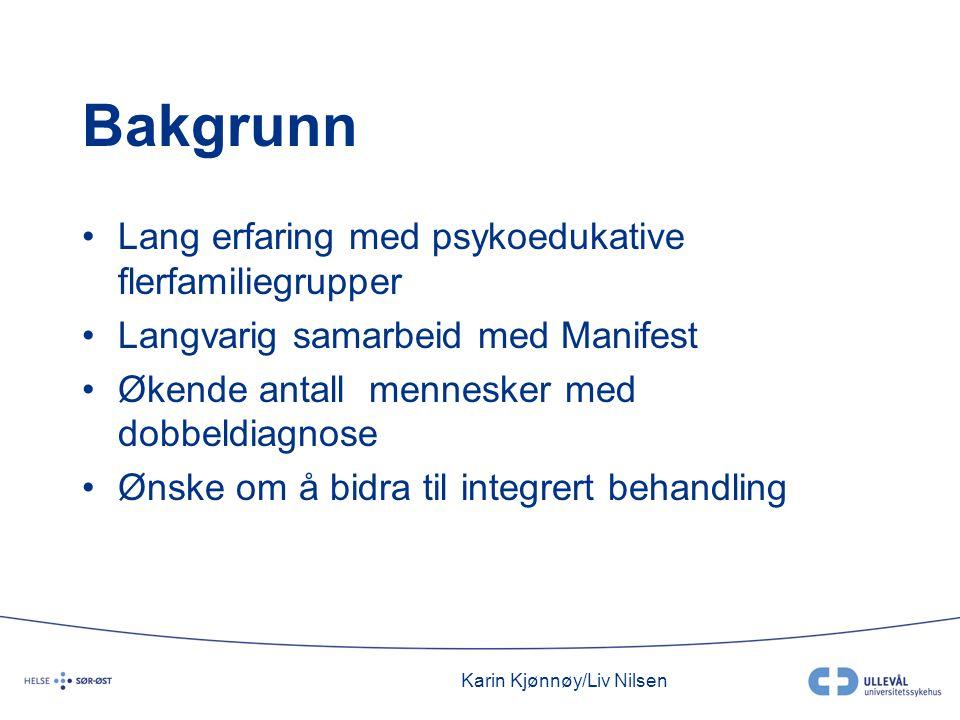 Karin Kjønnøy/Liv Nilsen Bakgrunn •Lang erfaring med psykoedukative flerfamiliegrupper •Langvarig samarbeid med Manifest •Økende antall mennesker med
