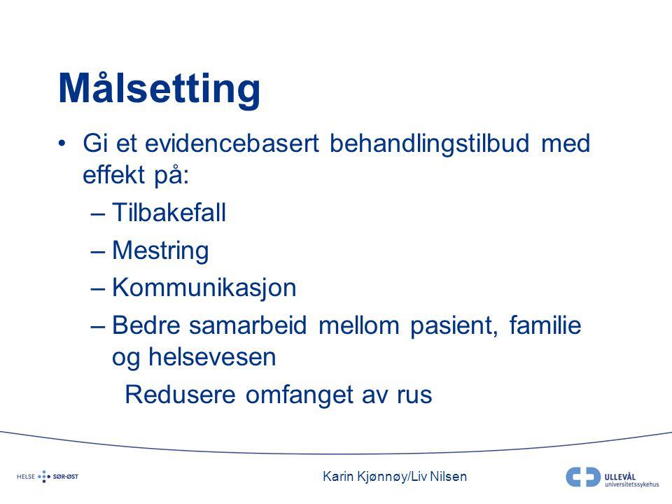 Karin Kjønnøy/Liv Nilsen Målsetting •Gi et evidencebasert behandlingstilbud med effekt på: –Tilbakefall –Mestring –Kommunikasjon –Bedre samarbeid mellom pasient, familie og helsevesen Redusere omfanget av rus