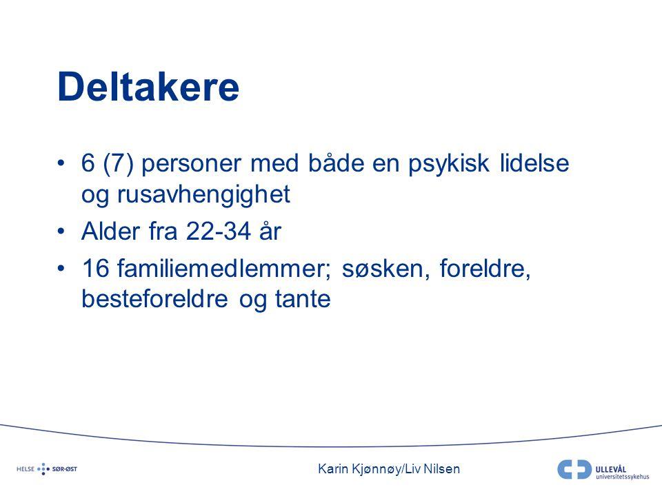 Karin Kjønnøy/Liv Nilsen Deltakere •6 (7) personer med både en psykisk lidelse og rusavhengighet •Alder fra 22-34 år •16 familiemedlemmer; søsken, foreldre, besteforeldre og tante
