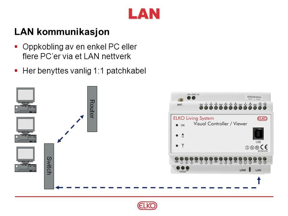 LAN kommunikasjon  Oppkobling av en enkel PC eller flere PC'er via et LAN nettverk  Her benyttes vanlig 1:1 patchkabel Switch Router LAN