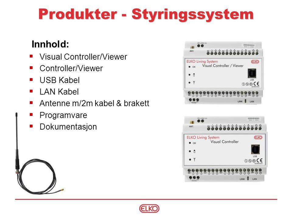 Innhold:  Visual Controller/Viewer  Controller/Viewer  USB Kabel  LAN Kabel  Antenne m/2m kabel & brakett  Programvare  Dokumentasjon Produkter - Styringssystem