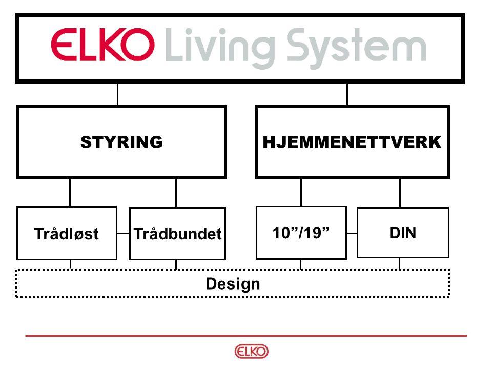 Eksempel Wireless løsning: - 2 stk WL Trykk - 1 stk kombi WL dimmer/rele Trådløst - Wireless