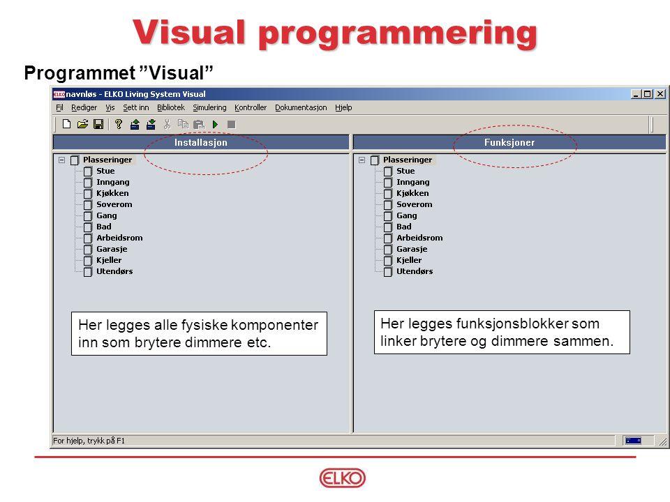 Programmet Visual Visual programmering Her legges alle fysiske komponenter inn som brytere dimmere etc.
