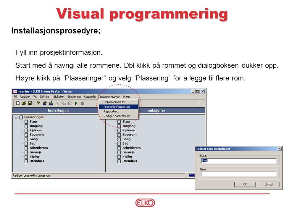 Installasjonsprosedyre; Visual programmering Fyll inn prosjektinformasjon.