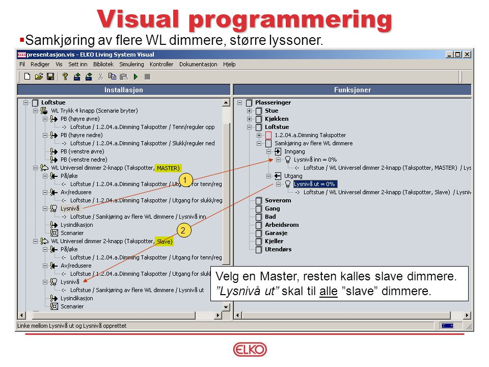 Visual programmering  Samkjøring av flere WL dimmere, større lyssoner.