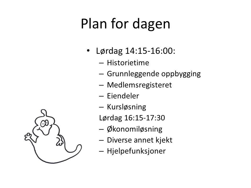 Plan for dagen • Lørdag 14:15-16:00: – Historietime – Grunnleggende oppbygging – Medlemsregisteret – Eiendeler – Kursløsning Lørdag 16:15-17:30 – Økon