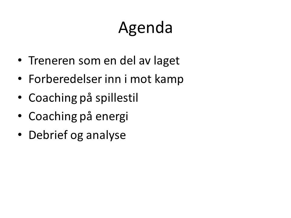 Agenda • Treneren som en del av laget • Forberedelser inn i mot kamp • Coaching på spillestil • Coaching på energi • Debrief og analyse