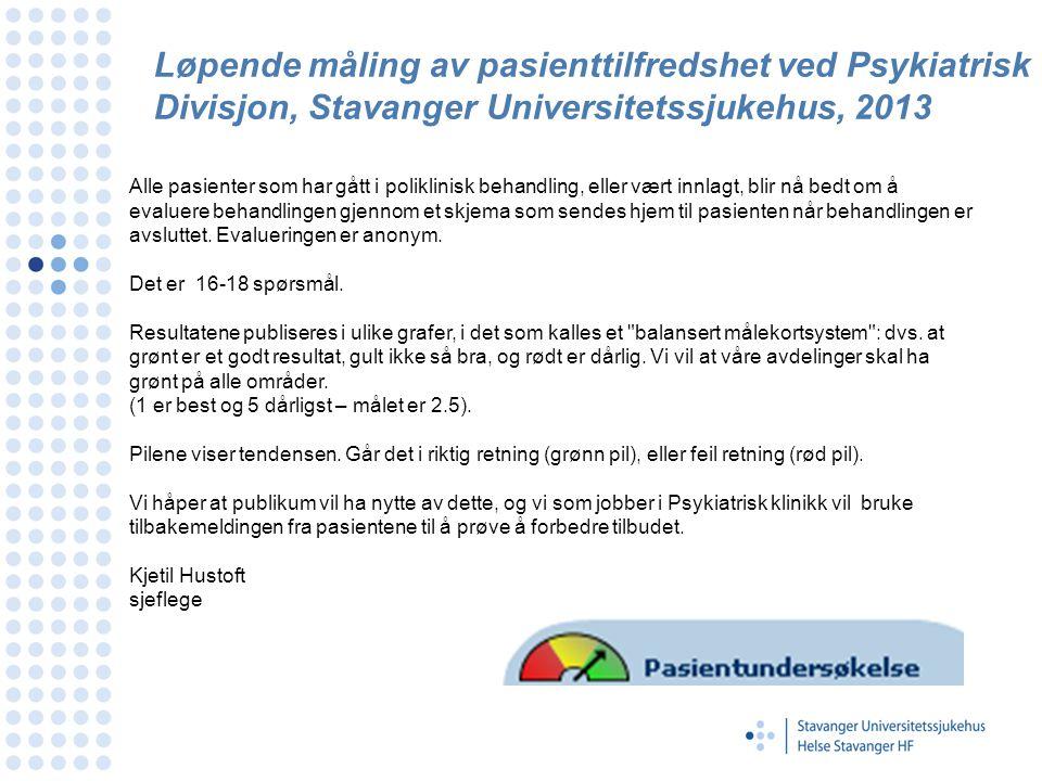 Løpende måling av pasienttilfredshet ved Psykiatrisk Divisjon, Stavanger Universitetssjukehus, 2013 Alle pasienter som har gått i poliklinisk behandli