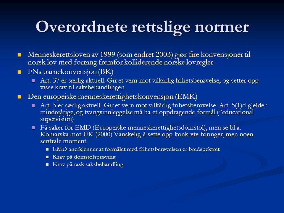 Overordnete rettslige normer  Menneskerettsloven av 1999 (som endret 2003) gjør fire konvensjoner til norsk lov med forrang fremfor kolliderende nors