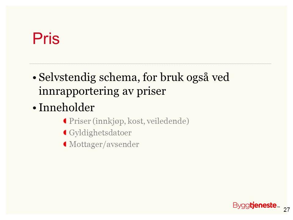 27 Pris •Selvstendig schema, for bruk også ved innrapportering av priser •Inneholder Priser (innkjøp, kost, veiledende) Gyldighetsdatoer Mottager/avse