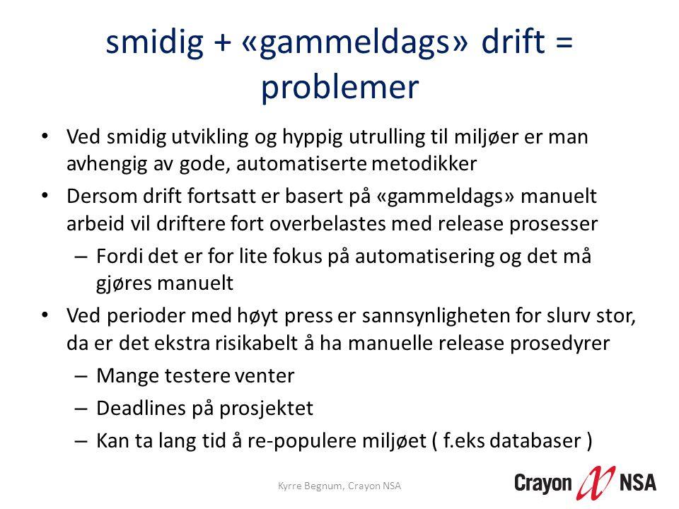 smidig + «gammeldags» drift = problemer • Ved smidig utvikling og hyppig utrulling til miljøer er man avhengig av gode, automatiserte metodikker • Der