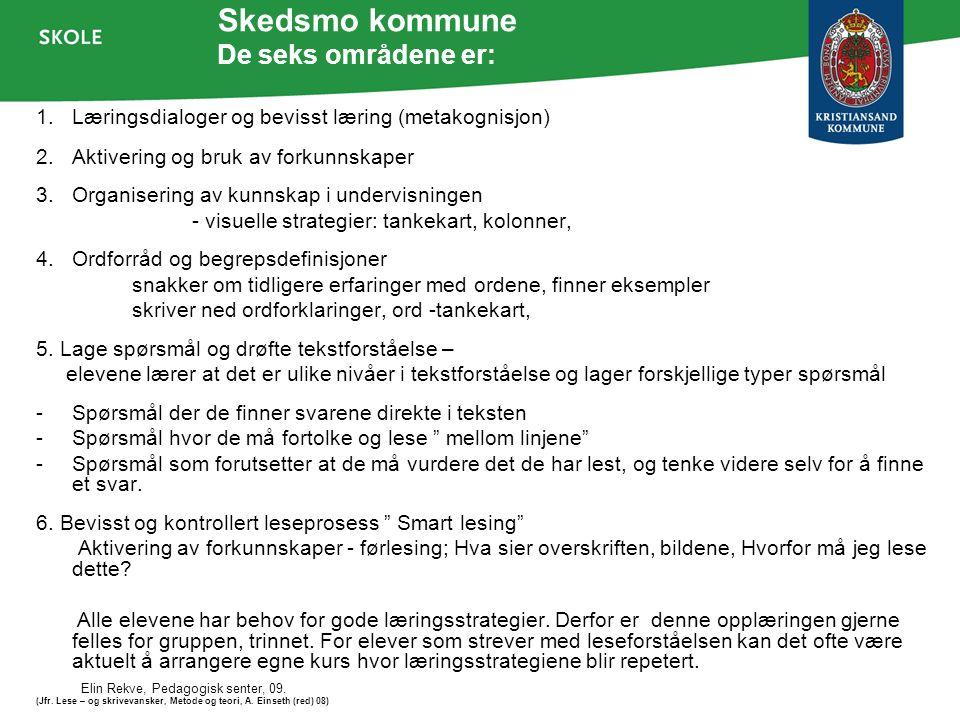 Elin Rekve, Pedagogisk senter, 09. Skedsmo kommune De seks områdene er: 1.Læringsdialoger og bevisst læring (metakognisjon) 2.Aktivering og bruk av fo