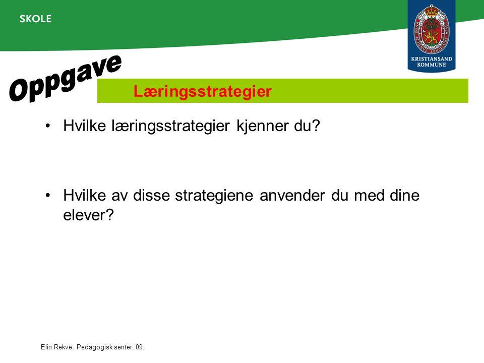Elin Rekve, Pedagogisk senter, 09. Læringsstrategier •Hvilke læringsstrategier kjenner du? •Hvilke av disse strategiene anvender du med dine elever?