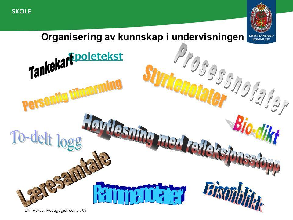 Elin Rekve, Pedagogisk senter, 09. Organisering av kunnskap i undervisningen Spoletekst