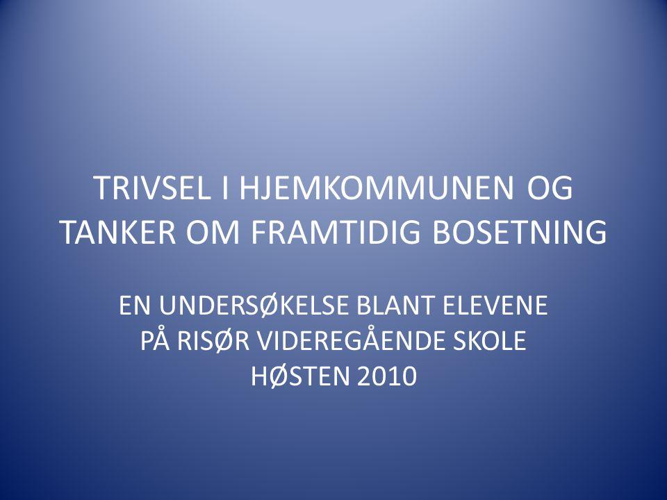 TRIVSEL I HJEMKOMMUNEN OG TANKER OM FRAMTIDIG BOSETNING EN UNDERSØKELSE BLANT ELEVENE PÅ RISØR VIDEREGÅENDE SKOLE HØSTEN 2010