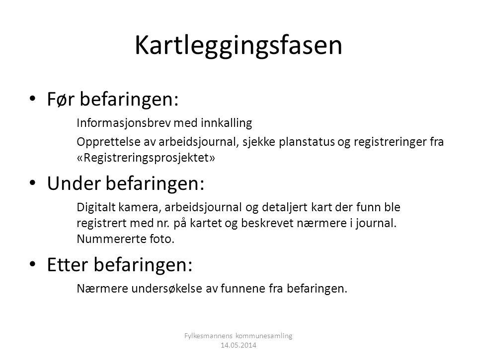 Kartleggingsfasen • Før befaringen: Informasjonsbrev med innkalling Opprettelse av arbeidsjournal, sjekke planstatus og registreringer fra «Registreri
