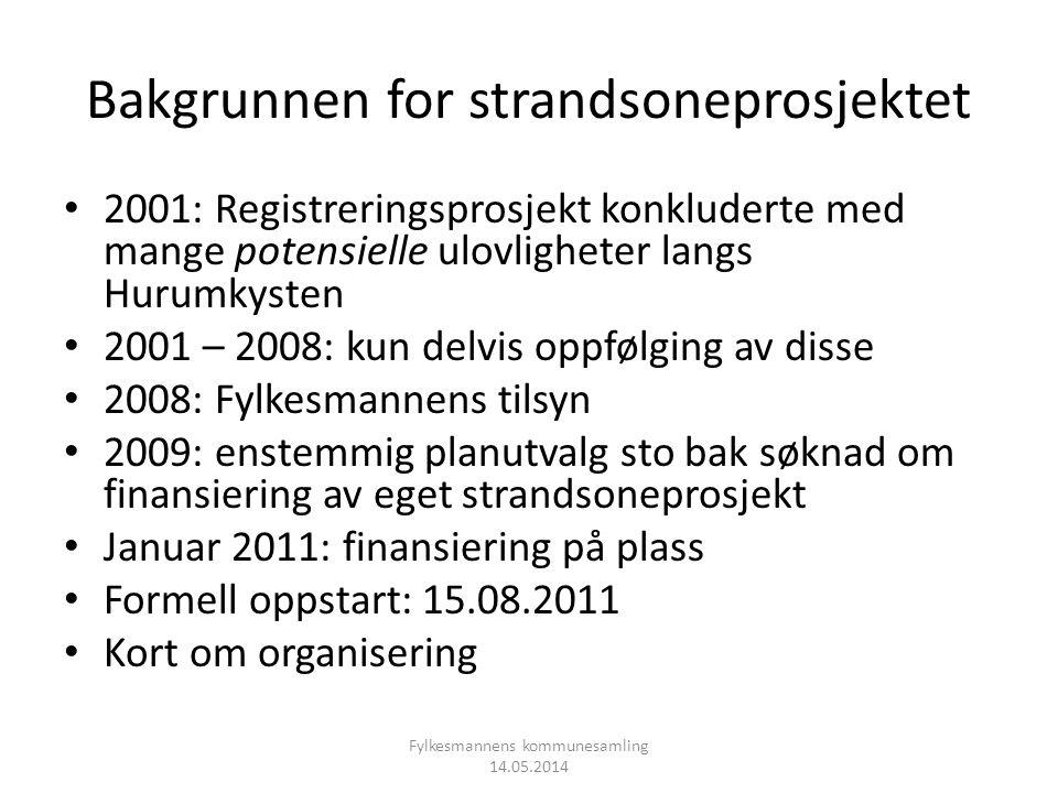 Bakgrunnen for strandsoneprosjektet • 2001: Registreringsprosjekt konkluderte med mange potensielle ulovligheter langs Hurumkysten • 2001 – 2008: kun