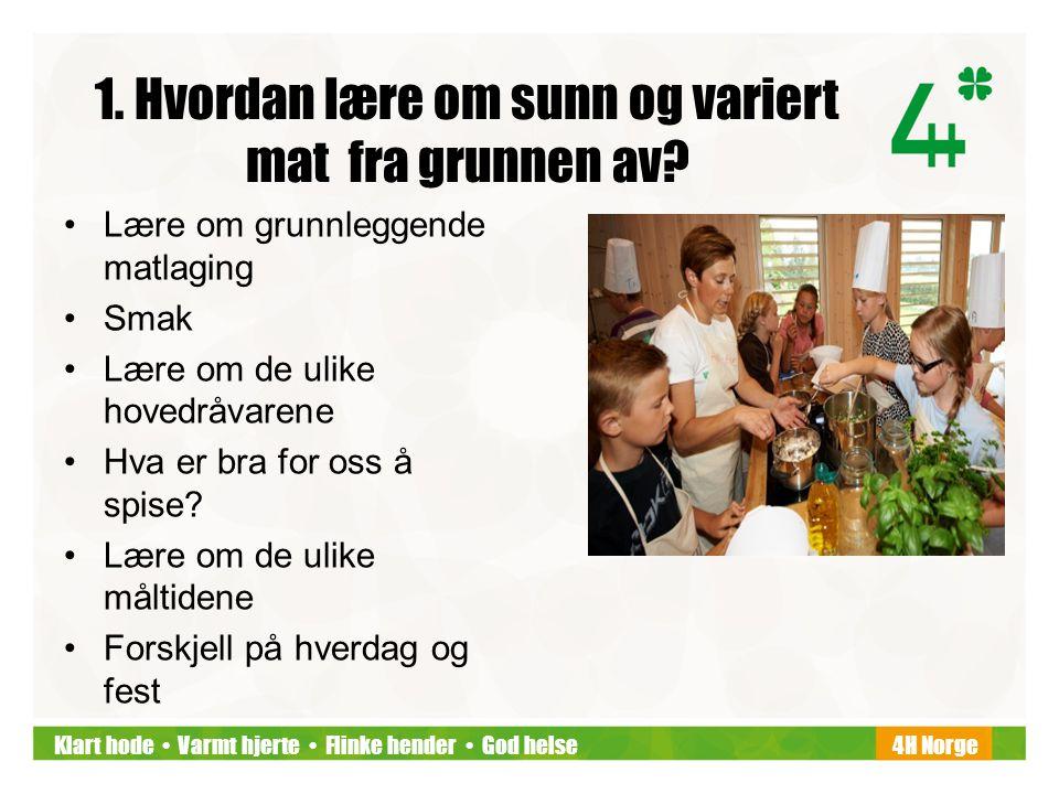 Klart hode • Varmt hjerte • Flinke hender • God helse4H Norge 1. Hvordan lære om sunn og variert mat fra grunnen av? •Lære om grunnleggende matlaging