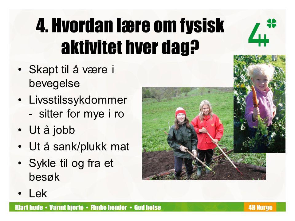 Klart hode • Varmt hjerte • Flinke hender • God helse4H Norge 4. Hvordan lære om fysisk aktivitet hver dag? •Skapt til å være i bevegelse •Livsstilssy