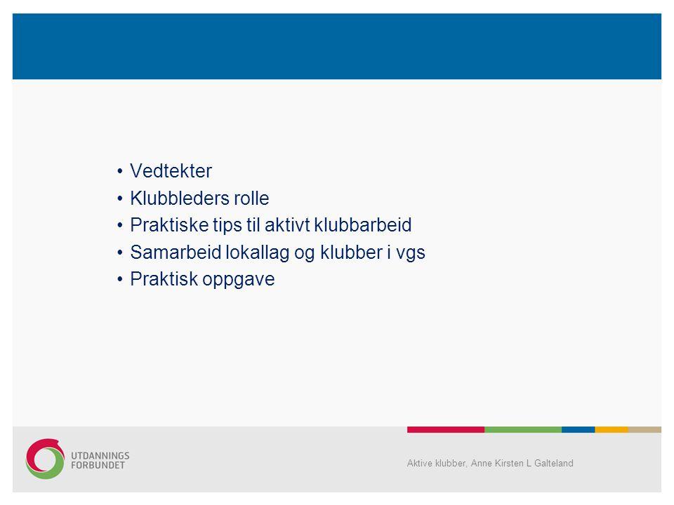 •Vedtekter •Klubbleders rolle •Praktiske tips til aktivt klubbarbeid •Samarbeid lokallag og klubber i vgs •Praktisk oppgave Aktive klubber, Anne Kirsten L Galteland