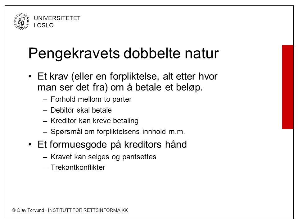 © Olav Torvund - INSTITUTT FOR RETTSINFORMAIKK UNIVERSITETET I OSLO Pengekravets dobbelte natur •Et krav (eller en forpliktelse, alt etter hvor man se
