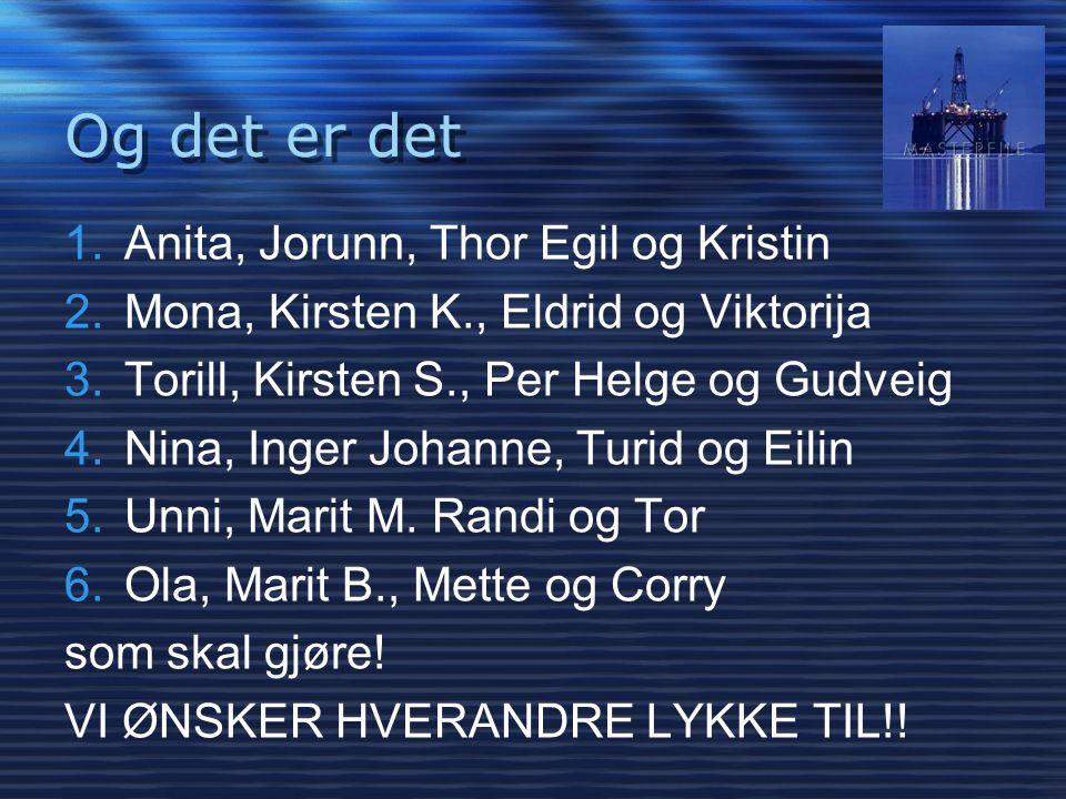 Og det er det 1.Anita, Jorunn, Thor Egil og Kristin 2.Mona, Kirsten K., Eldrid og Viktorija 3.Torill, Kirsten S., Per Helge og Gudveig 4.Nina, Inger J