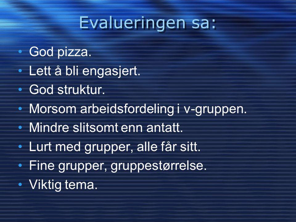 Evalueringen sa: •God pizza. •Lett å bli engasjert. •God struktur. •Morsom arbeidsfordeling i v-gruppen. •Mindre slitsomt enn antatt. •Lurt med gruppe