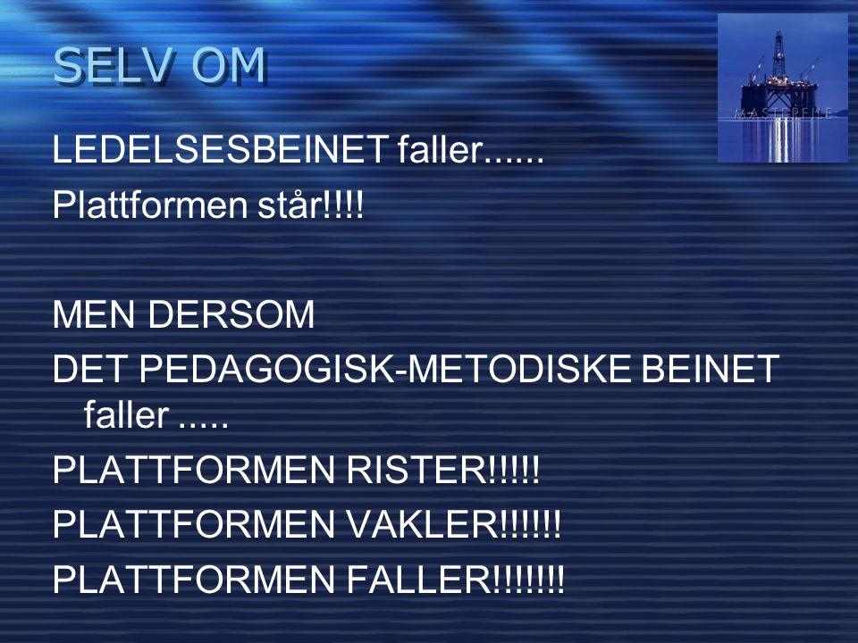 LEDELSESBEINET faller...... Plattformen står!!!! MEN DERSOM DET PEDAGOGISK-METODISKE BEINET faller..... PLATTFORMEN RISTER!!!!! PLATTFORMEN VAKLER!!!!