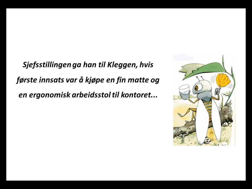 Sjefsstillingen ga han til Kleggen, hvis første innsats var å kjøpe en fin matte og en ergonomisk arbeidsstol til kontoret...