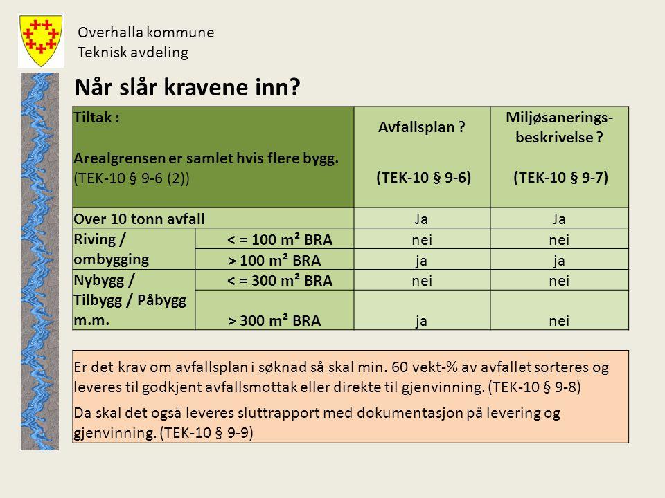 18 Byggesaker med krav om avfallsplan i Overhalla Antall byggesaker fom 1.1.2008 tom d.d.
