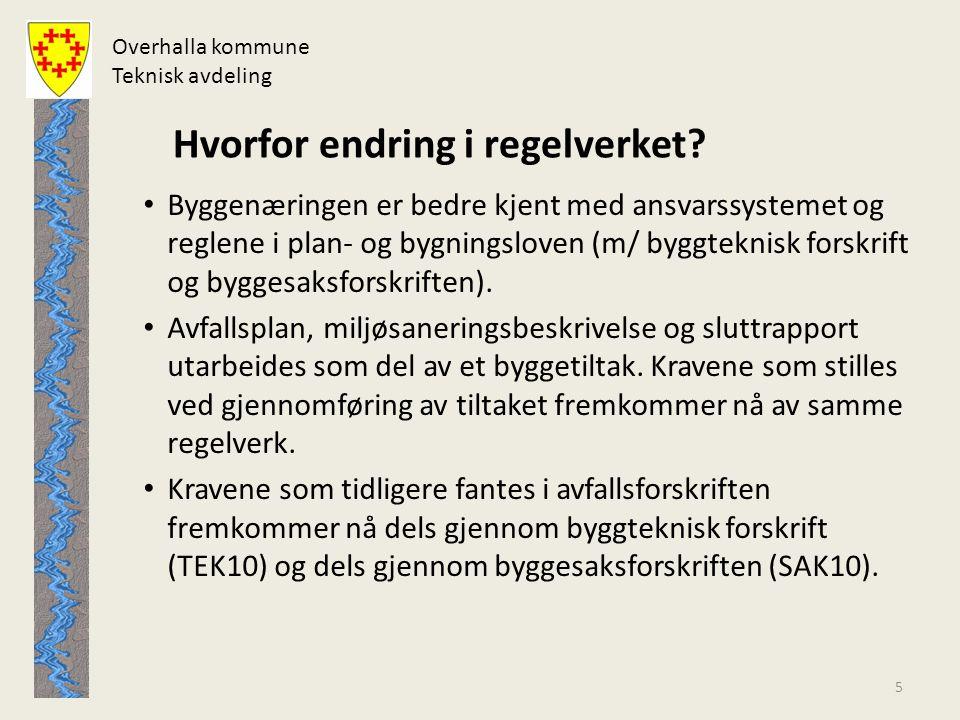 Overhalla kommune Teknisk avdeling Hva er nytt.
