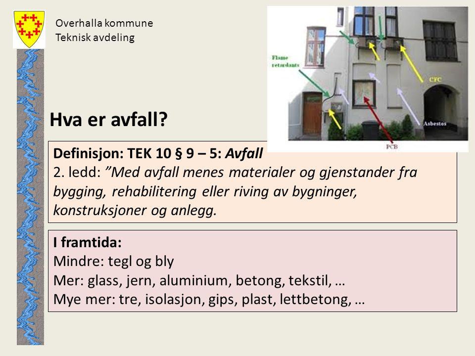 """Overhalla kommune Teknisk avdeling Hva er avfall? Definisjon: TEK 10 § 9 – 5: Avfall 2. ledd: """"Med avfall menes materialer og gjenstander fra bygging,"""