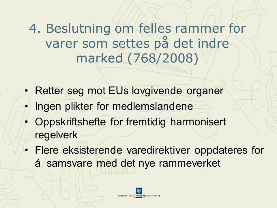 4. Beslutning om felles rammer for varer som settes på det indre marked (768/2008) •Retter seg mot EUs lovgivende organer •Ingen plikter for medlemsla