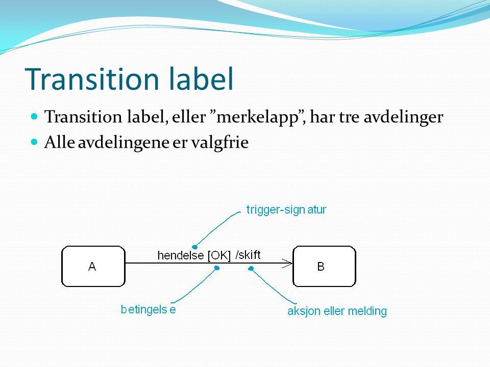Transition label  Transition label, eller merkelapp , har tre avdelinger  Alle avdelingene er valgfrie
