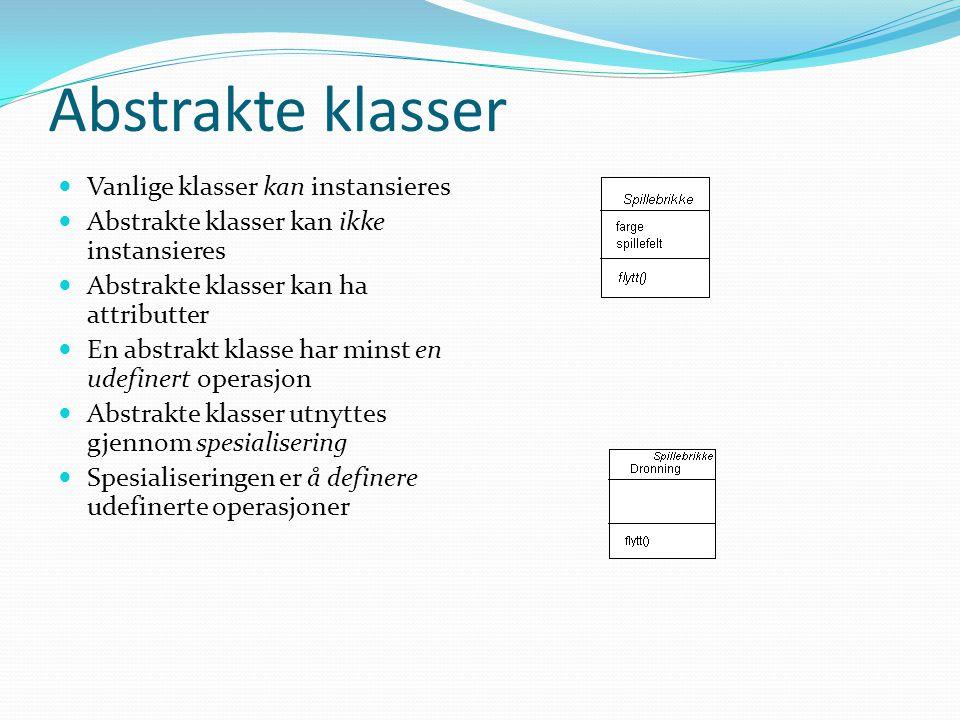 Interface  Interface er mindre enn abstrakte klasser  Interface mangler nemlig attributter og konkrete operasjoner  Interface bygger en felles meldingsstruktur mellom rammeverk og domeneklasser