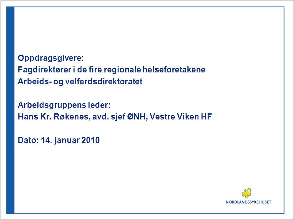 Oppdragsgivere: Fagdirektører i de fire regionale helseforetakene Arbeids- og velferdsdirektoratet Arbeidsgruppens leder: Hans Kr.