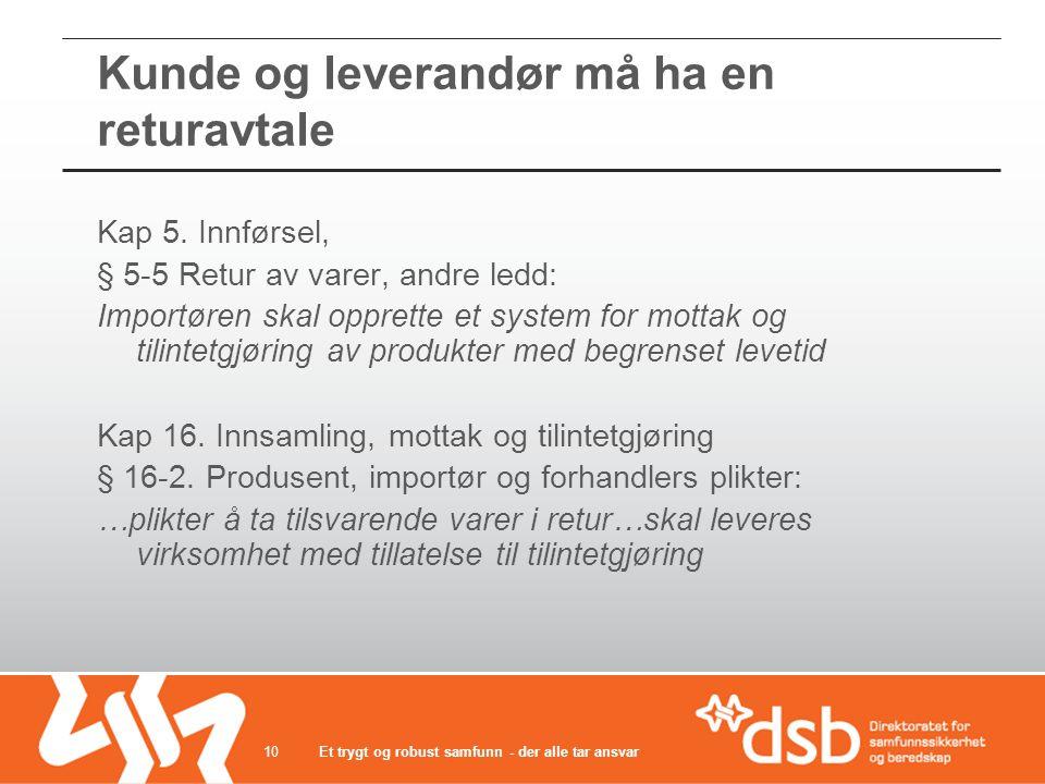 Kunde og leverandør må ha en returavtale Et trygt og robust samfunn - der alle tar ansvar10 Kap 5. Innførsel, § 5-5 Retur av varer, andre ledd: Import