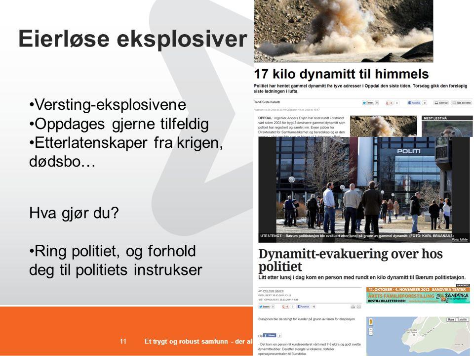 Et trygt og robust samfunn - der alle tar ansvar11 Eierløse eksplosiver •Versting-eksplosivene •Oppdages gjerne tilfeldig •Etterlatenskaper fra krigen