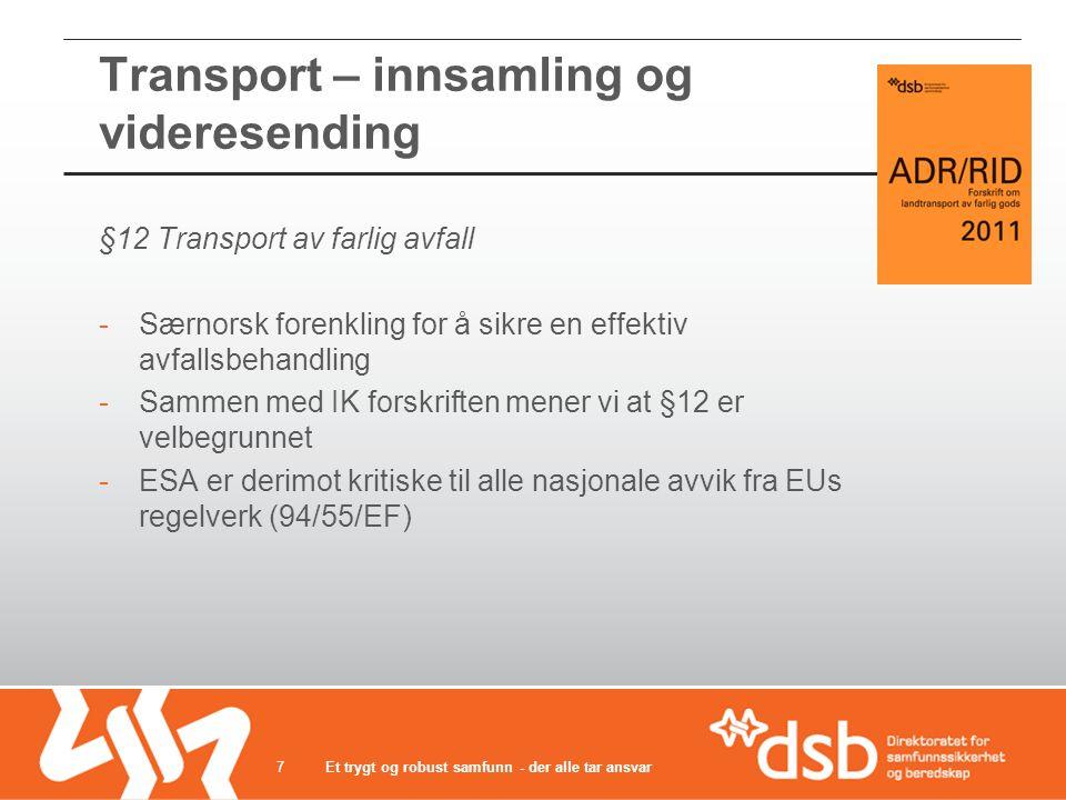 Transport – innsamling og videresending §12 Transport av farlig avfall -Særnorsk forenkling for å sikre en effektiv avfallsbehandling -Sammen med IK f