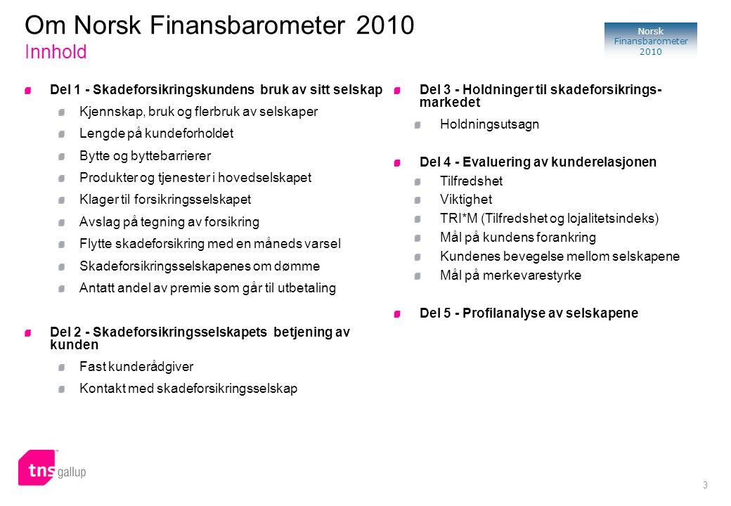 3 Norsk Finansbarometer 2010 Del 1 - Skadeforsikringskundens bruk av sitt selskap Kjennskap, bruk og flerbruk av selskaper Lengde på kundeforholdet By