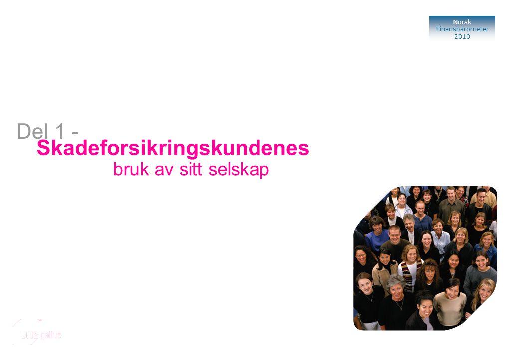 Norsk Finansbarometer 2010 Bank Skadeforsikringskundenes bruk av sitt selskap Del 1 -