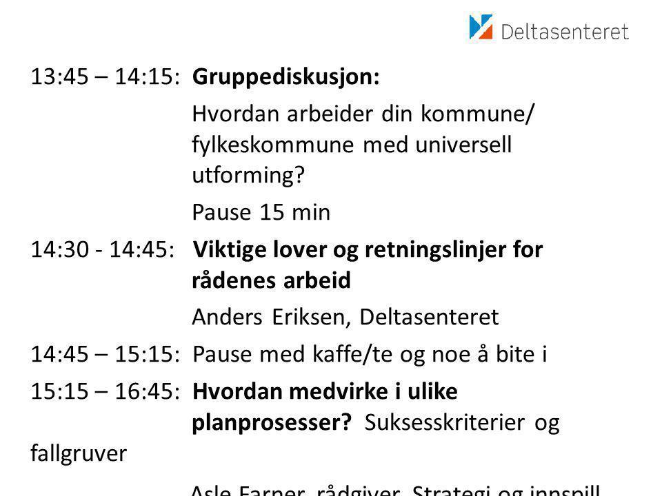 13:45 – 14:15: Gruppediskusjon: Hvordan arbeider din kommune/ fylkeskommune med universell utforming.